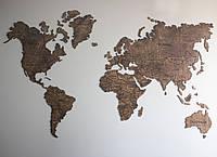 Карта мира с фанеры на стену (тонированная), фото 1