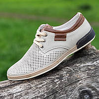 Мужские летние спортивные туфли кожаные в дырочку светлые (Код: Ш1454)