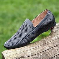 Мужские летние туфли мокасины кожаные в дырочку (Код: Б1460)