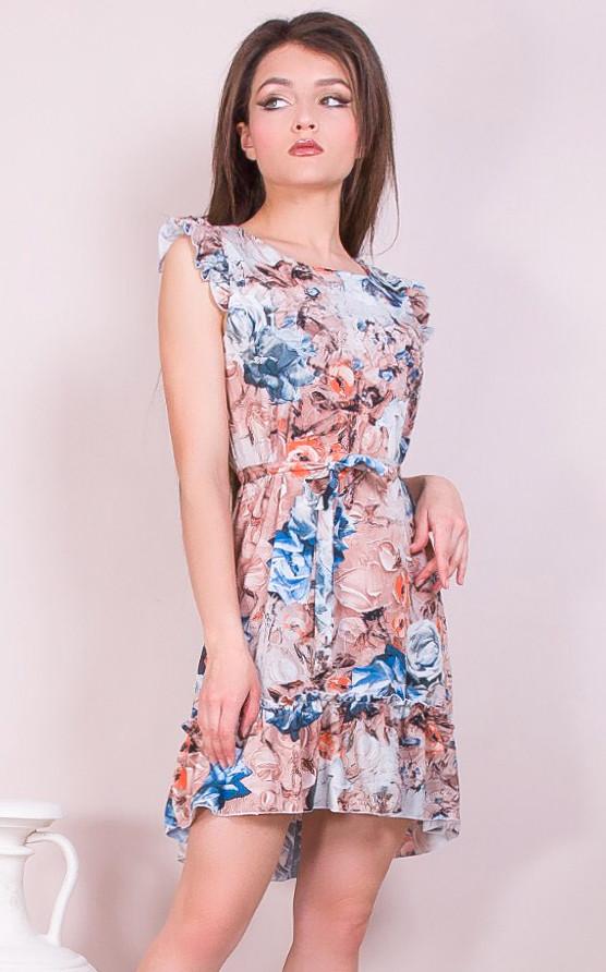 Платье с абстрактными цветами 42-48