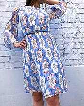Платье гофре нарядное  с цветами (голубое)