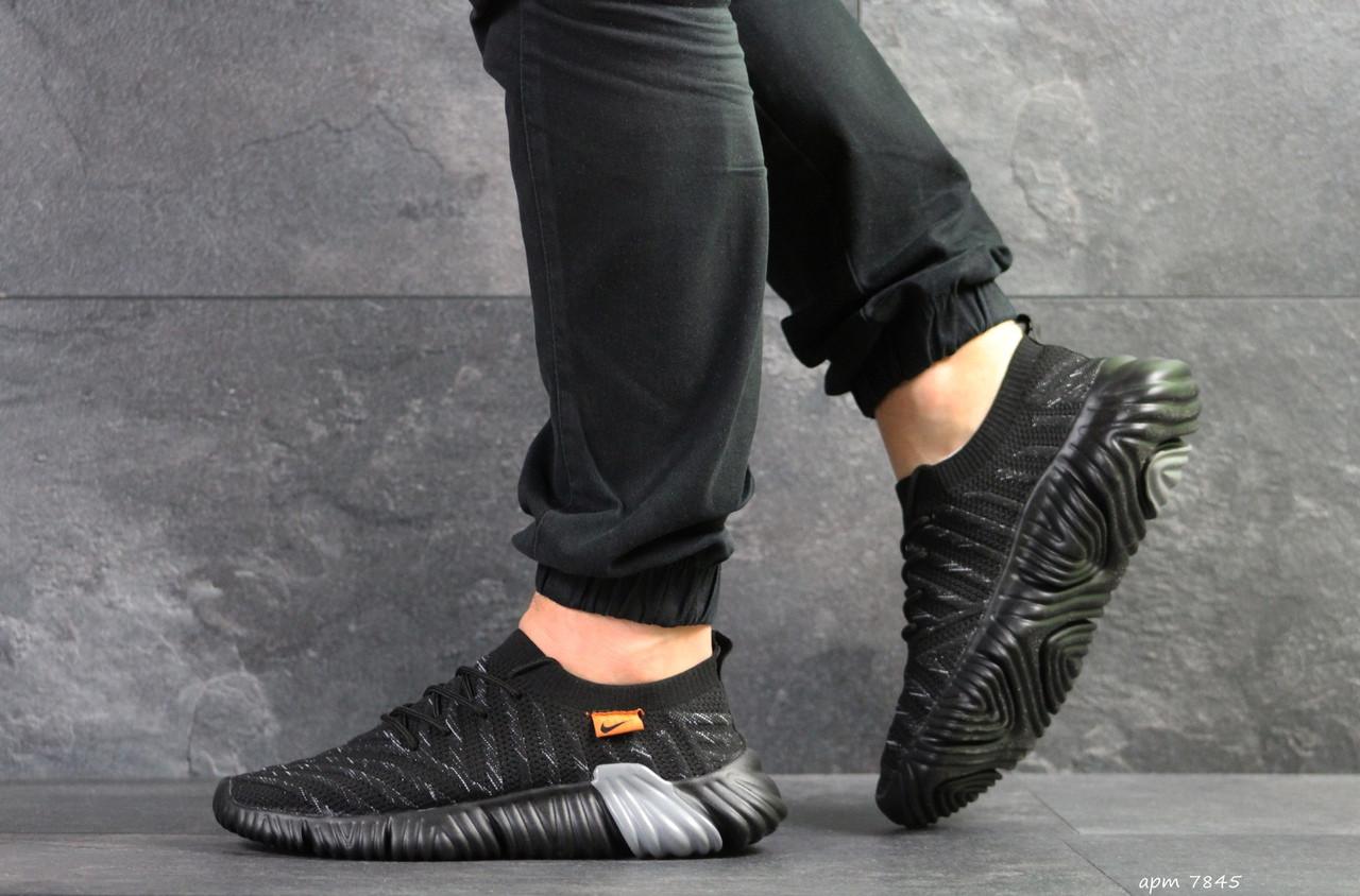 Мужские текстильные кроссовки Nike,черные с серым  43,44,45р