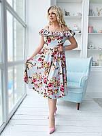 Красивое платье сарафан летнее ниже колен с волами на груди цветочный принт для полных больших размеров 50-54