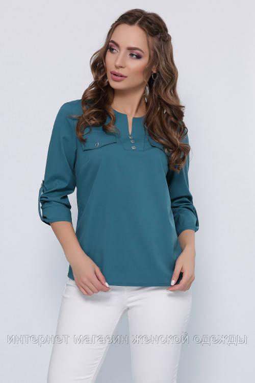 Женская свободная блузка рубашка срукавом который заворачивается