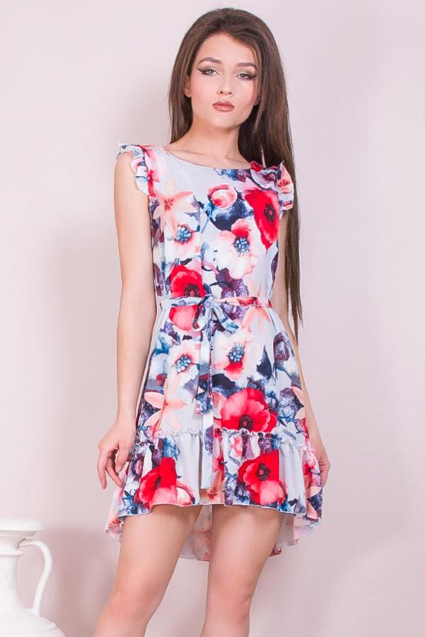 Тонкое цветочное платье на лето 42-48