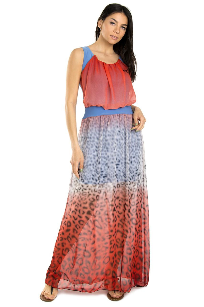 Леопардова довге плаття шифон 46-50 (в кольорах)