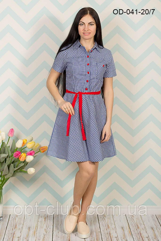 Летнее стильное платье в мелкую клеточку 42