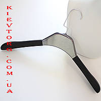 Вешалки плечики кожаные мягкие с серебрянной вставкой, 40 см