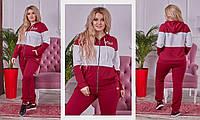 Женский батальный спортивный костюм бордо+белый