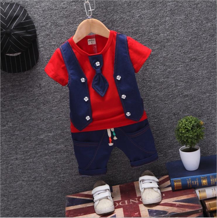 Нарядный летний костюм на мальчика  красно-синий 1-4 года