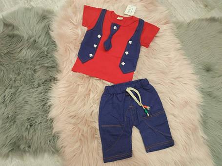 Нарядный летний костюм на мальчика  красно-синий 1-4 года, фото 2