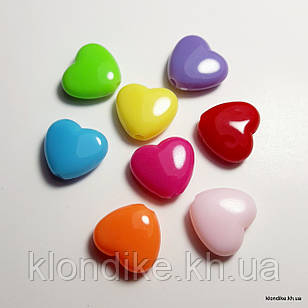 Бусины Акрил, Сердечки, 12×10 мм, Цвет: Микс (40 шт.)