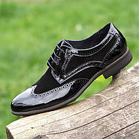 Туфли мужские модельные кожаные лаковые броги на шнурках черные (Код: М1470)