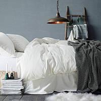 Белый однотонный комплект постельного белья, поплин, разные размеры