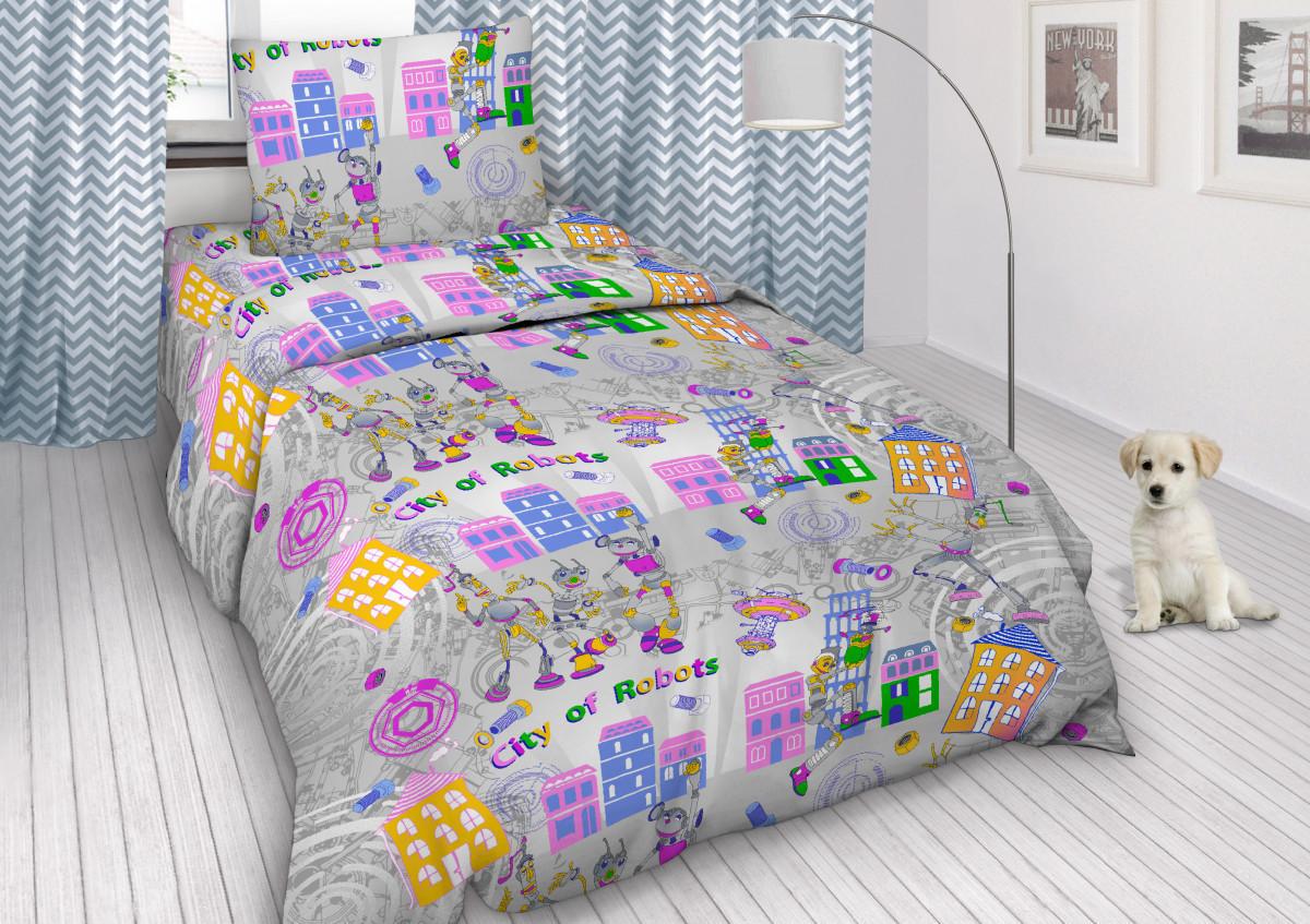 Комплект постельного белья  в кроватку Робогород