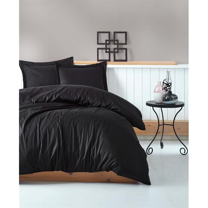 Постельное белье Страйп-сатин Черный, Турция, разные размеры