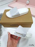 Шлепанцы серебристые Balenciaga натуральная кожа код 23384