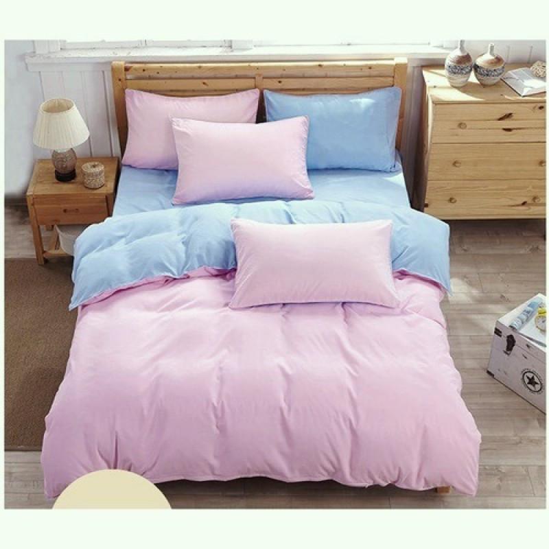 Однотонный комплект постельного белья  розовый  и голубой микс, поплин, разный размеры