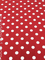 Ткань трикотаж плательный ( ш. 140 см.) красный в белый горох