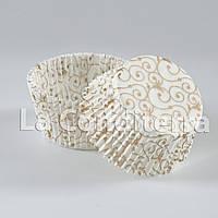 """Бумажные формы для кексов с рисунком """"Версаль"""" коричневый (Ø50 мм), мин. партия 2000 шт."""
