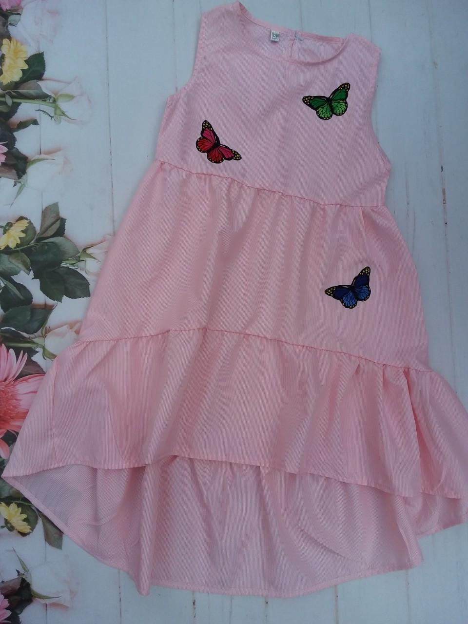 Детское платье в мелкую полоску для девочки на лето Бабочка р.128-152