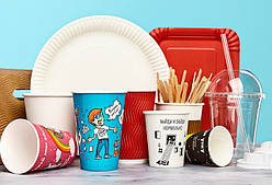 Одноразовая бумажная посуда, крышки для стаканов