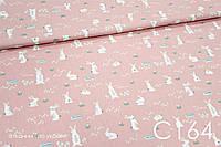 Ткань сатин Зайчикина розовом ОСТАТОК 1 м