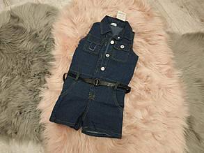 Комбинезон детский летный джинсовый на девочку синий с поясом 3-7 лет, фото 2