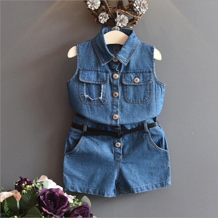 Комбинезон детский летный джинсовый на девочку синий с поясом 3-7 лет