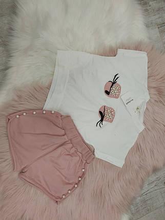 Нарядный летний костюм  на девочку футболка+шорты 3-6 лет  Глазки, фото 2