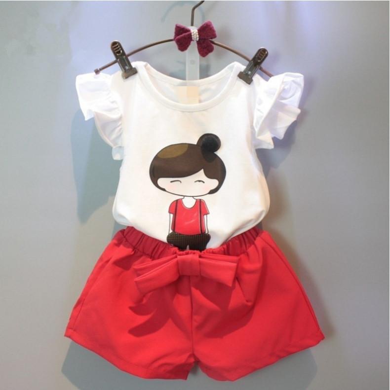 Нарядный летний костюм  на девочку футболка+шорты 2-5 лет   красно-белый Девочка
