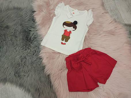 Нарядный летний костюм  на девочку футболка+шорты 2-5 лет   красно-белый Девочка, фото 2