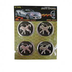 Эмблемы металлические на колпаки Peugeot цена за 4 шт