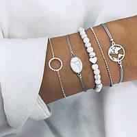 Набор браслетов 5в1  под серебро (голубая нить)