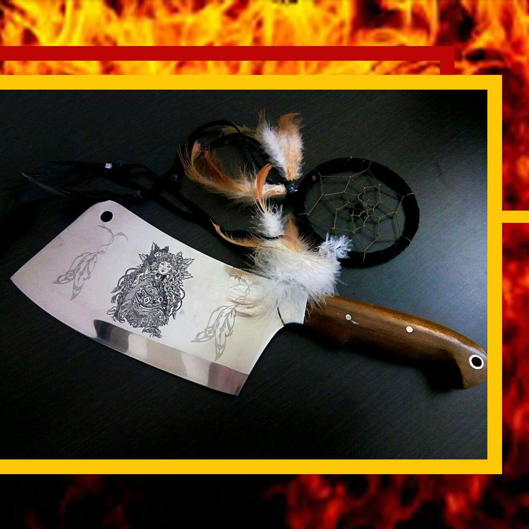 """Кухонний сокирка, сікач ручної роботи з лазерним гравіруванням """"Шаманка"""" , 40Х13"""
