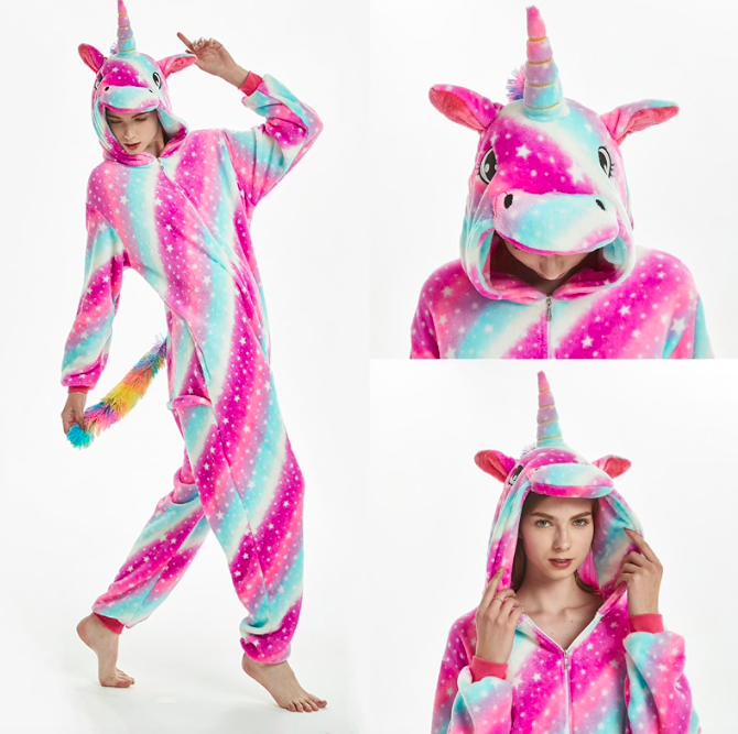 Кигуруми пижама взрослая единорог розовый звезды S