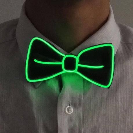 Светодиодная Led El бабочка светящийся галстук для вечеринок, пати. Зеленая, фото 2