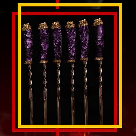 """Эксклюзивный набор шампуров ручной работы с инкрустацией камнями """"Mysterious stranger"""", в кожаном колчане, фото 2"""