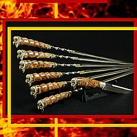 """Подарочный набор шампуров с ножом """"Viking"""" (6шт, 3мм) в кожаном колчане"""