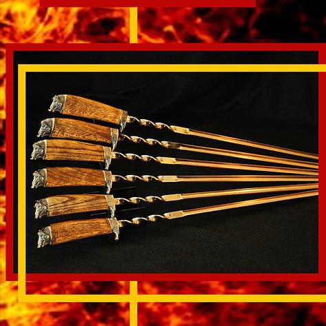 """Набор шампуров для шашлыка с дубовыми ручками """"Вепри"""" в кожаном колчане, фото 2"""