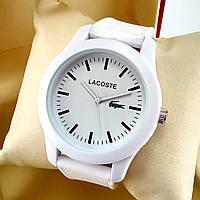 Кварцевые наручные часы Lacoste белого цвета с белым циферблатом, силиконовый ремешок