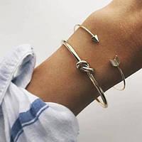 Набор браслетов 2шт под золото узел и стрела, фото 1