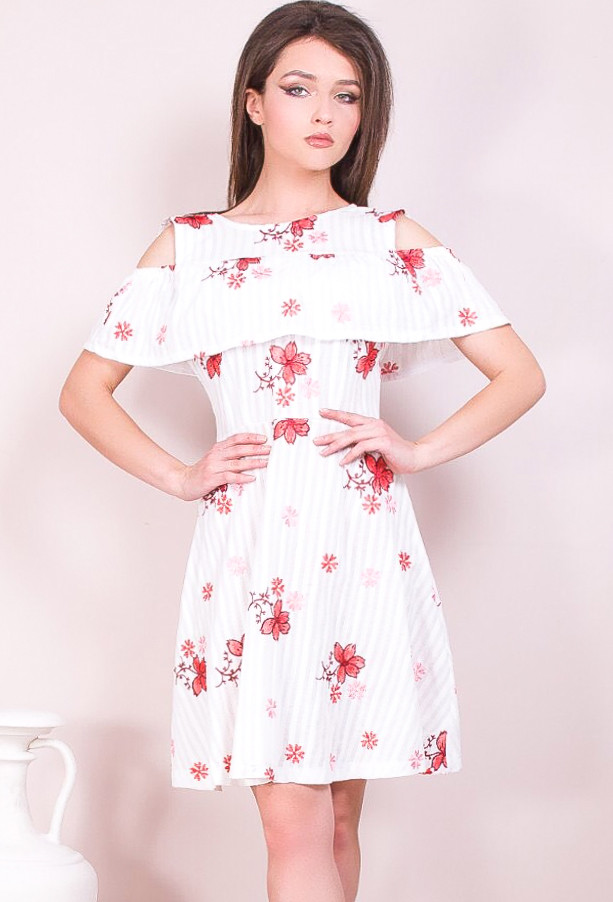 Цветочное платье на лето из прошвы 42-48