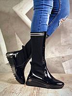 Женские демисезонные черные сапоги, из натуральной лакированной кожи+обувной текстиль