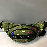 Поясная сумка зеленая Balenciaga 2 отделения (Бананка, Сумка на пояс, сумка на плечо), фото 1