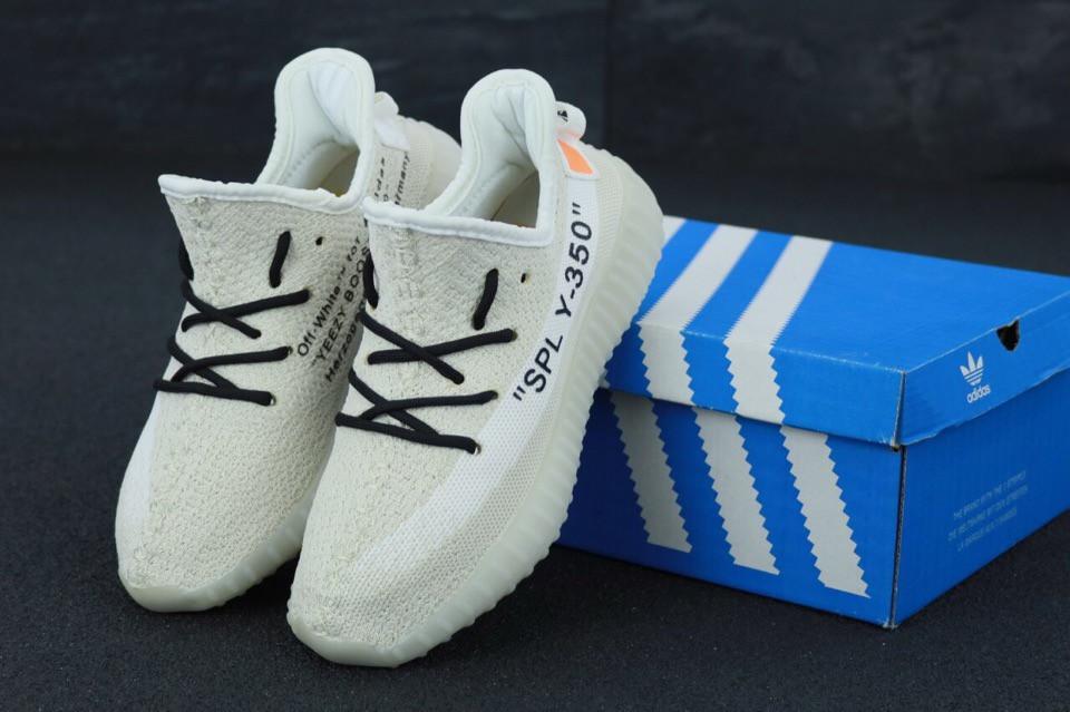 Кроссовки Adidas Yeezy Boost 350 реплика ААА+, размер 36-45 белый (живые фото), фото 1