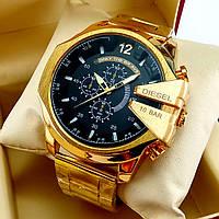 Мужские кварцевые наручные часы Diesel на металлическом браслете золотого цвета, черный циферблат с датой