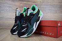 Мужские кроссовки Puma RS-X чёрно-зелёные, фото 1