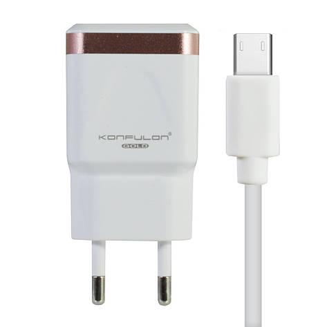 Сетевое зарядное устройство Konfulon C31+S02(Micro Cable) 2USB/2,1A, фото 2