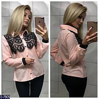 Блуза классическая нарядная с кружевом, длинный рукав, офисная, фото 1